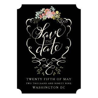 Cartões salve a data florais da rotulação da mão convite 12.7 x 17.78cm