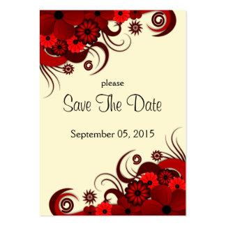 Cartões salve a data florais vermelhos e brancos cartão de visita grande