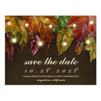 Cartões salve a data rústicos das folhas de outono