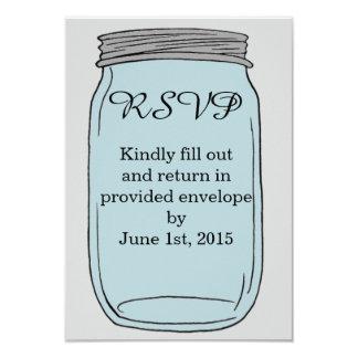 Cartões simples do frasco de pedreiro R.S.V.P Convite 8.89 X 12.7cm