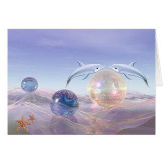 cartões surrealistas da fantasia com golfinhos