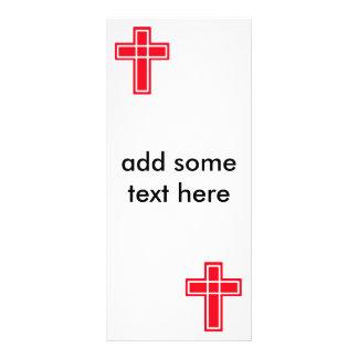 Cartões transversais vermelhos e brancos cristãos 10.16 x 22.86cm panfleto