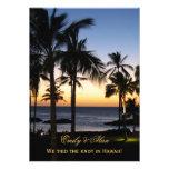 Cartões tropicais do anúncio do casamento do desti convite personalizado