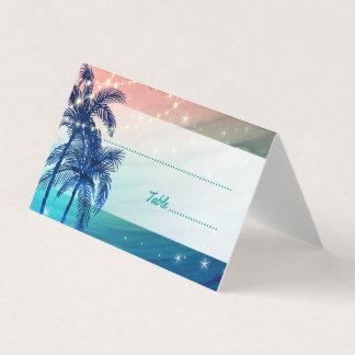 Cartão De Mesa Cartões tropicais do lugar do casamento de praia