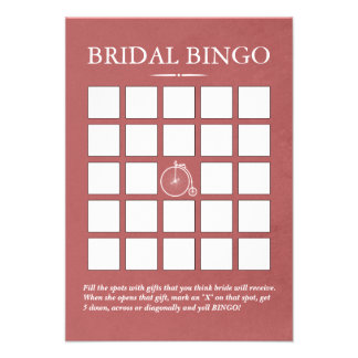 Cartões velhos à moda do Bingo do chá de panela da Convite Personalizado
