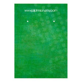 Cartões verde-claro do brinco do fundo cartão de visita grande