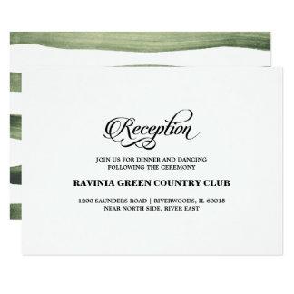 Cartões verdes da recepção de casamento das