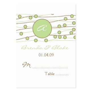 Cartões verdes do assento da mesa do casamento do  modelo de cartões de visita