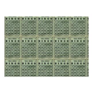cartões verdes do bingo do vintage convite personalizado