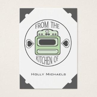 Cartões verdes retros da receita do fogão (ajuste