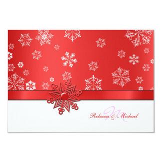 Cartões vermelhos & brancos do inverno do floco de convites