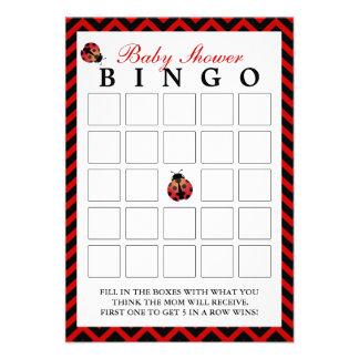 Cartões vermelhos do Bingo do chá de fraldas de Ch Convites Personalizado