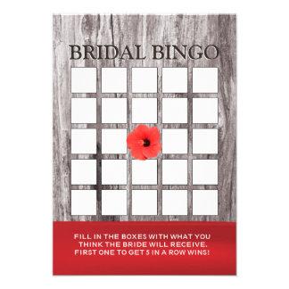 Cartões vermelhos do Bingo do chá de panela da flo Convites Personalizados