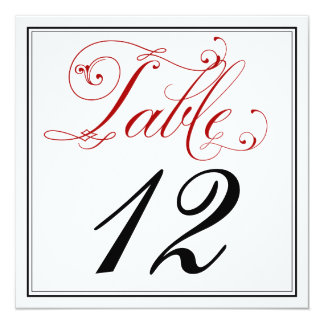Cartões vermelhos elaborados do número da mesa do convite quadrado 13.35 x 13.35cm
