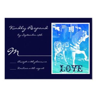 Cartões Wedding azuis Prancing do cavalo RSVP do Convite 8.89 X 12.7cm