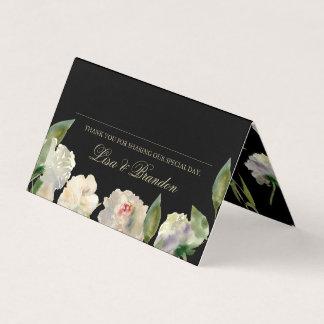 Cartões Wedding brancos do lugar da peônia |