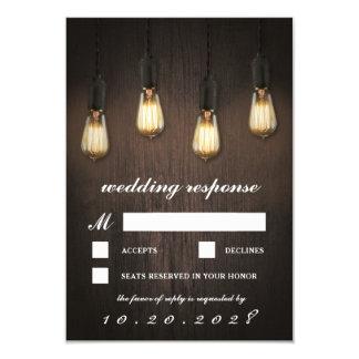 Cartões Wedding chiques das luzes rústicas RSVP do