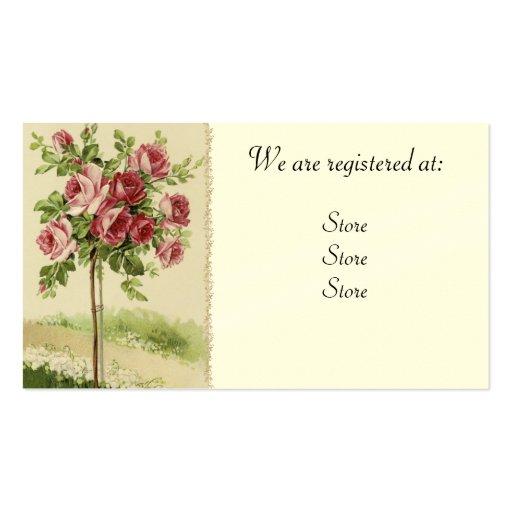 Cartões Wedding cor-de-rosa de Registery do vintag Cartões De Visitas
