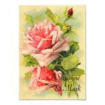 Cartões Wedding cor-de-rosa do vintage RSVP Convite Personalizado