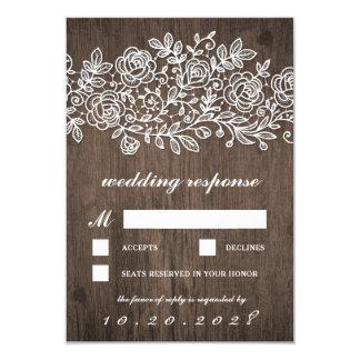 Cartões Wedding de madeira do celeiro rústico RSVP