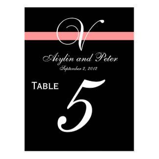 Cartões Wedding do número da mesa da inicial V