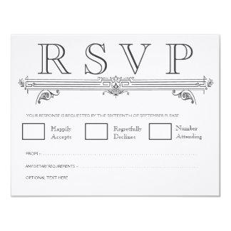 Cartões Wedding elegantes pretos & brancos do Convite 10.79 X 13.97cm