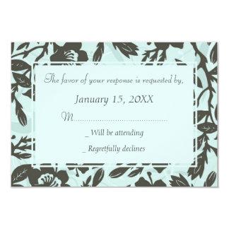 Cartões Wedding florais azuis de RSVP
