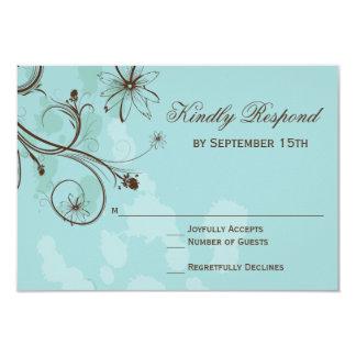 Cartões Wedding florais azuis do ovo RSVP do pisco