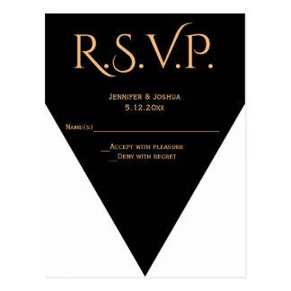 Cartões wedding geométricos modernos de B&W RSVP Cartão Postal