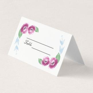Cartões Wedding pintados mão do lugar das flores  