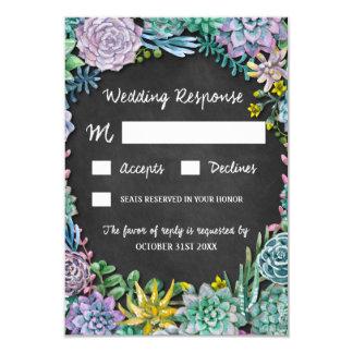 Cartões Wedding rústicos do Succulent e do quadro