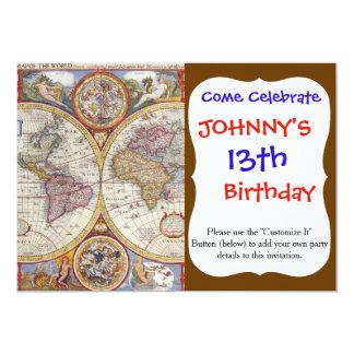 Cartografia antiga do mapa de Velho Mundo do Convite 12.7 X 17.78cm