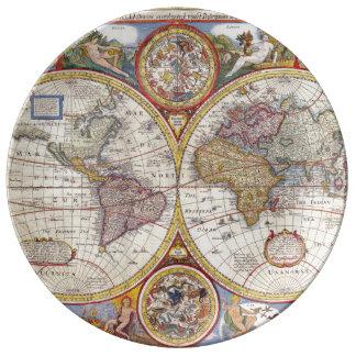 Cartografia antiga do mapa de Velho Mundo do Pratos De Porcelana