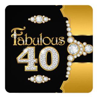 Carvão fabuloso do ouro de 40 aniversário de 40 convite quadrado 13.35 x 13.35cm