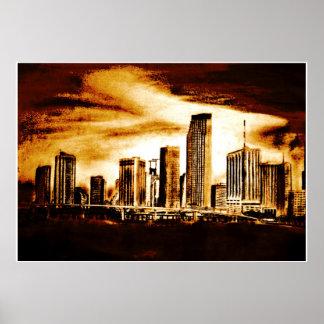 Carvão vegetal da skyline de Miami Pôster