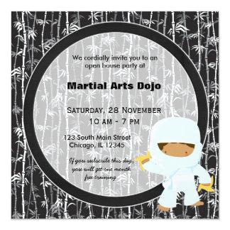 Casa aberta das artes marciais convite quadrado 13.35 x 13.35cm
