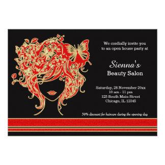 Casa aberta do cabeleireiro convite personalizado