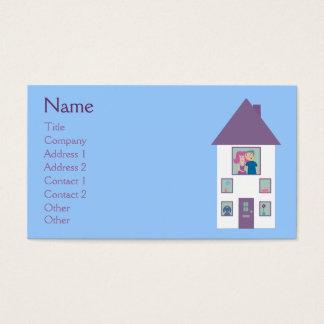 Casa bonito & casal dos desenhos animados do cartão de visitas