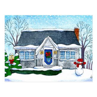 Casa bonito do Natal, boneco de neve, cartão do