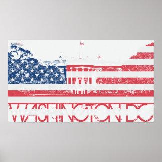 Casa branca - Washington DC - bandeira dos Estados Pôster