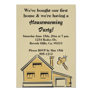Casa & chave do partido do Housewarming Convite 12.7 X 17.78cm