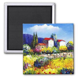 casa com divertimento colorido do viagem da ímã quadrado