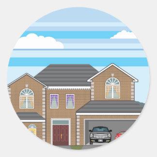 Casa com garagem aberta. 2 carros adesivo