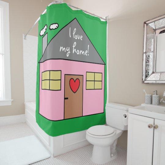 Casa cor-de-rosa bonito que tira a cor verde cortinas para chuveiro