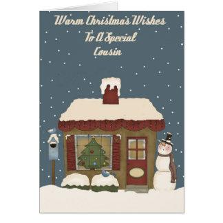 Casa de campo do Natal a um primo especial Cartao