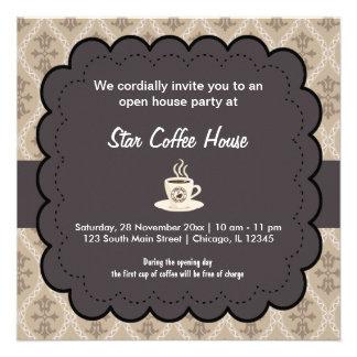 Casa do café da grande inauguração convites