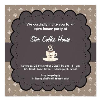 Casa do café da grande inauguração convite quadrado 13.35 x 13.35cm