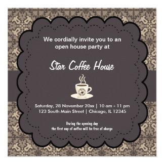 Casa do café da grande inauguração convites personalizado