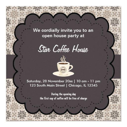 Casa do café da grande inauguração convite personalizados