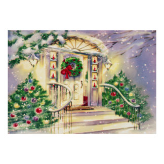 Casa do natal vintage impressão